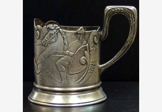Подстаканник серебряный «Русские богатыри»